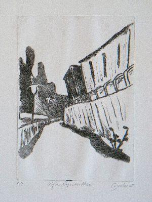 Liberec 3, Weg an der Neiße, 20,9 x 14,6 cm, Kaltnadel