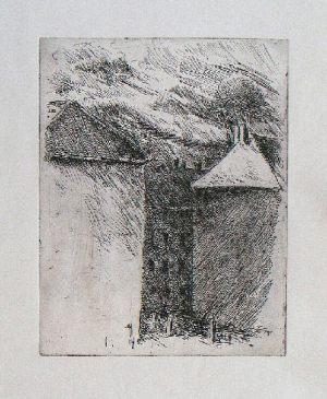 Hinterhof -Wolken (Pfersee), 25,4 x 19,6 cm, 2007, Ätzradierung