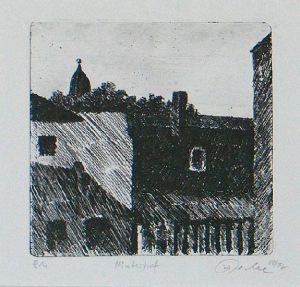 Hinterhof, 12 x 13 cm, 1988, Ätzradierung