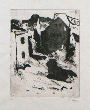 Baulücke, 25 x 16,6 cm, 2007, Ätzradierung