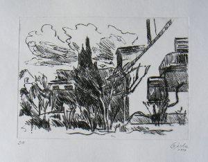 Hausecke - Wolken, 19,6 x 25 cm, 2010, Kaltnadel