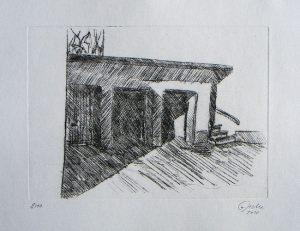 Garage - Treppe, 15 x 20,7 cm, 2010, Kaltnadel
