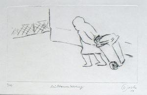 Mülltonnenleerung, 12 x 20,7 cm, 2010, Kaltnadel